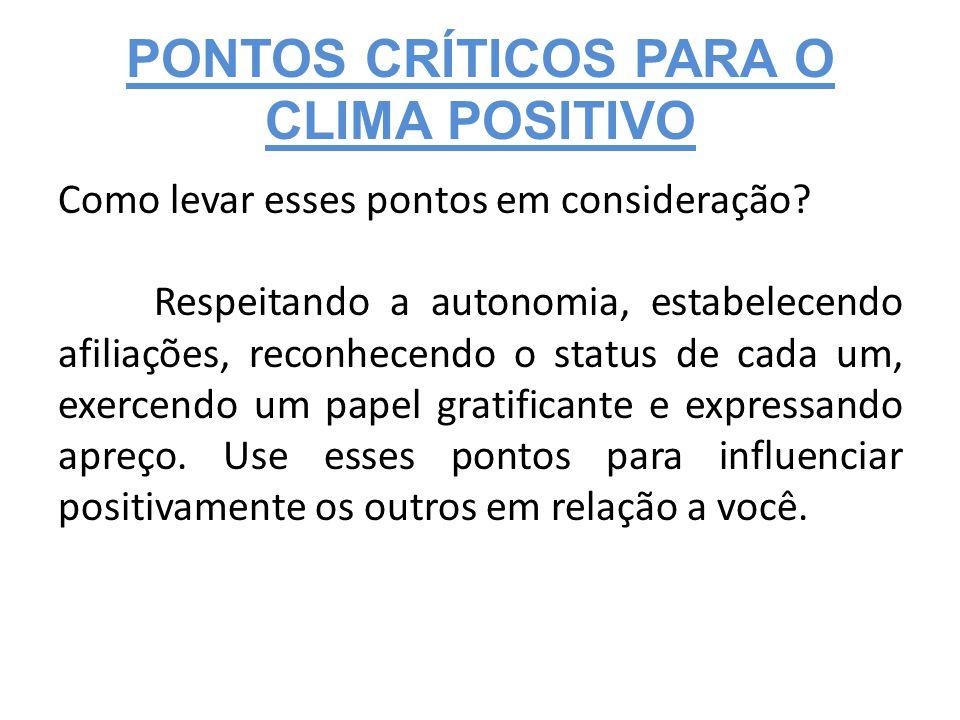 PONTOS CRÍTICOS PARA O CLIMA POSITIVO Como levar esses pontos em consideração.