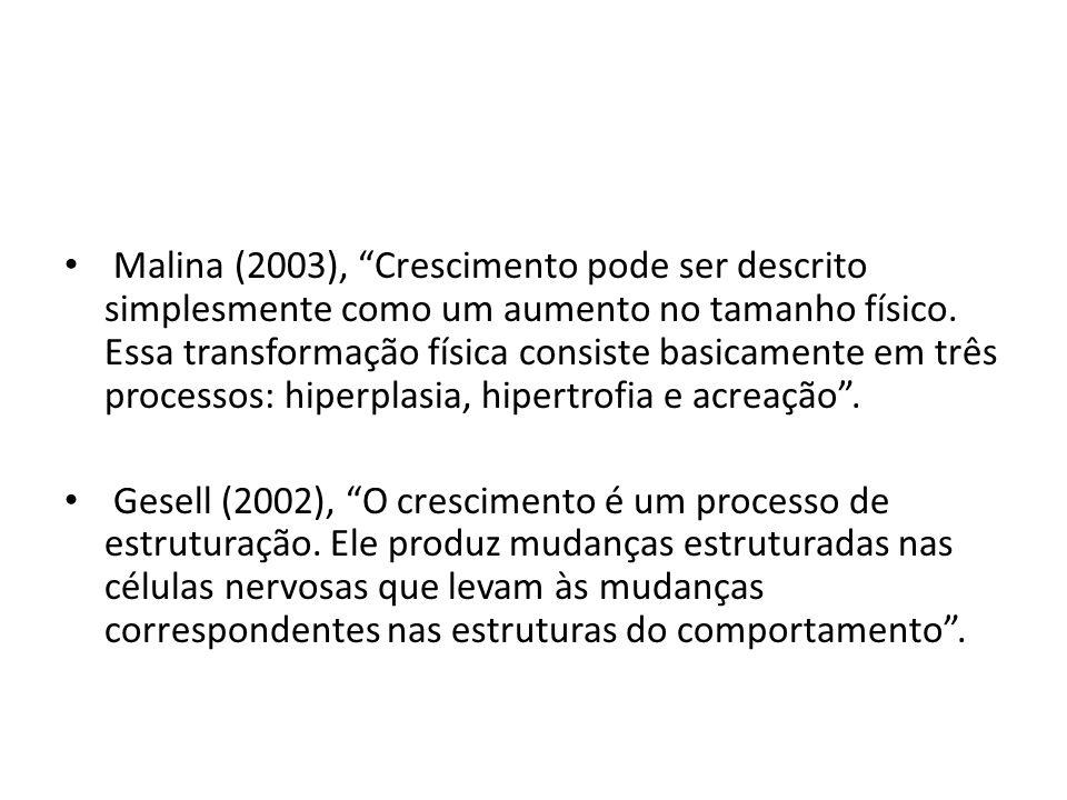 Malina (2003), Crescimento pode ser descrito simplesmente como um aumento no tamanho físico. Essa transformação física consiste basicamente em três pr
