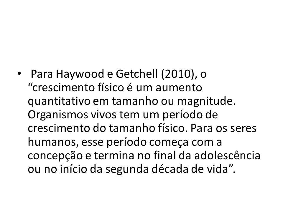 Para Haywood e Getchell (2010), o crescimento físico é um aumento quantitativo em tamanho ou magnitude. Organismos vivos tem um período de crescimento
