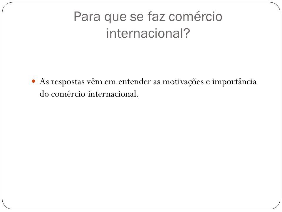 Para que se faz comércio internacional? As respostas vêm em entender as motivações e importância do comércio internacional.