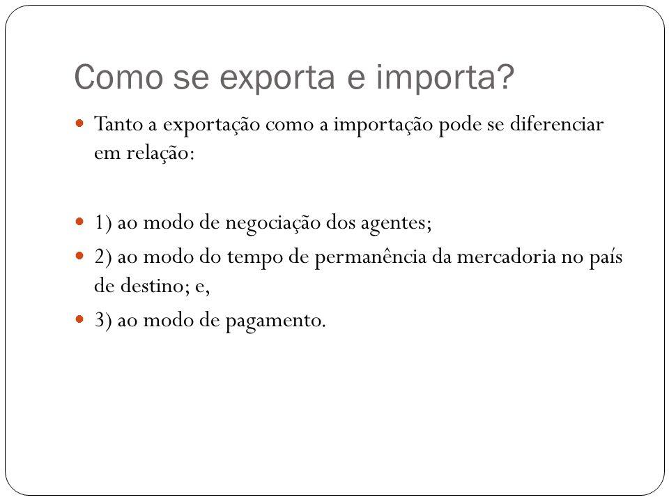 Como se exporta e importa? Tanto a exportação como a importação pode se diferenciar em relação: 1) ao modo de negociação dos agentes; 2) ao modo do te