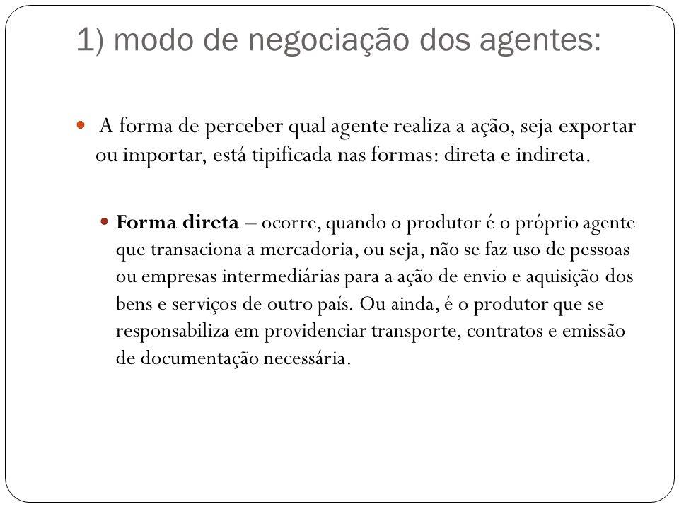 1) modo de negociação dos agentes: A forma de perceber qual agente realiza a ação, seja exportar ou importar, está tipificada nas formas: direta e indireta.