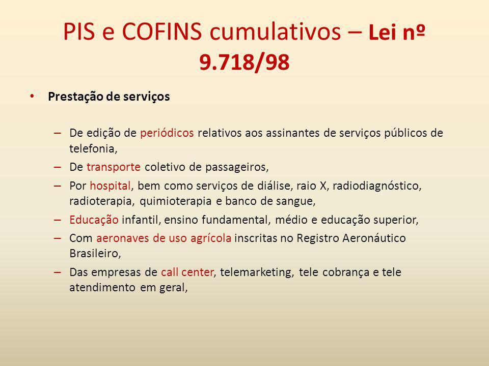 PIS e COFINS cumulativos – Lei nº 9.718/98 Prestação de serviços – De edição de periódicos relativos aos assinantes de serviços públicos de telefonia,