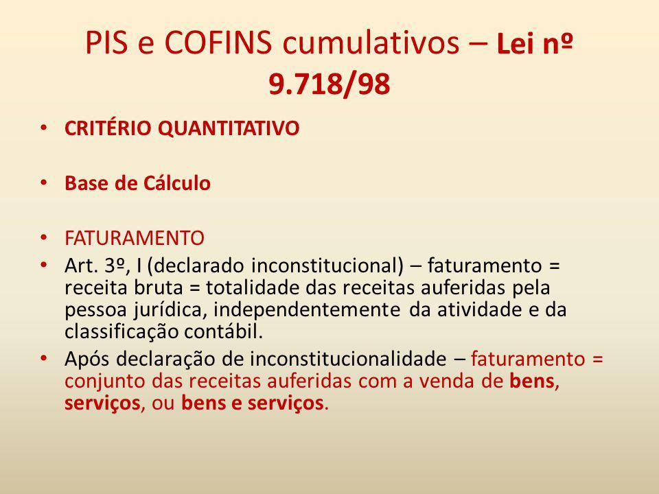 PIS e COFINS cumulativos – Lei nº 9.718/98 CRITÉRIO QUANTITATIVO Base de Cálculo FATURAMENTO Art. 3º, I (declarado inconstitucional) – faturamento = r