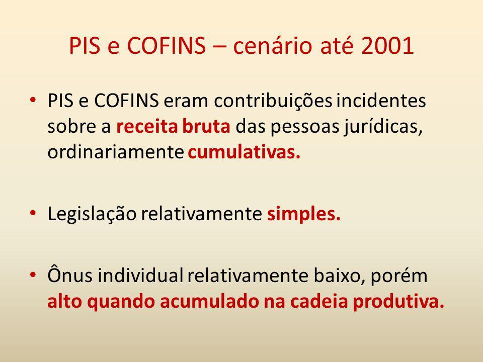 PIS e COFINS – cenário até 2001 PIS e COFINS eram contribuições incidentes sobre a receita bruta das pessoas jurídicas, ordinariamente cumulativas. Le