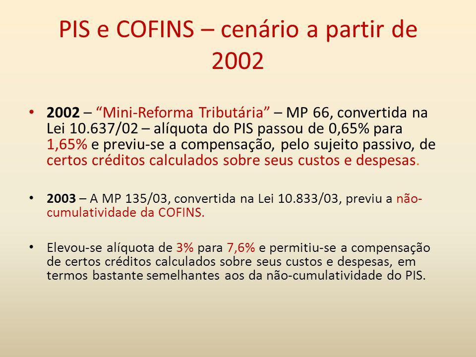 PIS e COFINS – cenário a partir de 2002 2002 – Mini-Reforma Tributária – MP 66, convertida na Lei 10.637/02 – alíquota do PIS passou de 0,65% para 1,6