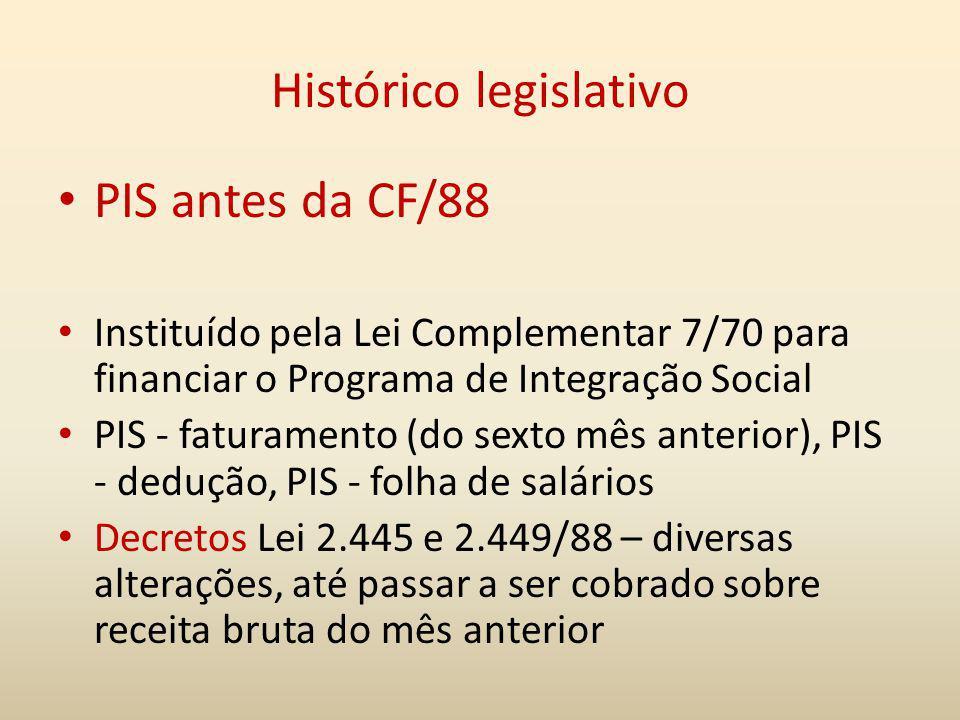 Histórico legislativo PIS antes da CF/88 Instituído pela Lei Complementar 7/70 para financiar o Programa de Integração Social PIS - faturamento (do se
