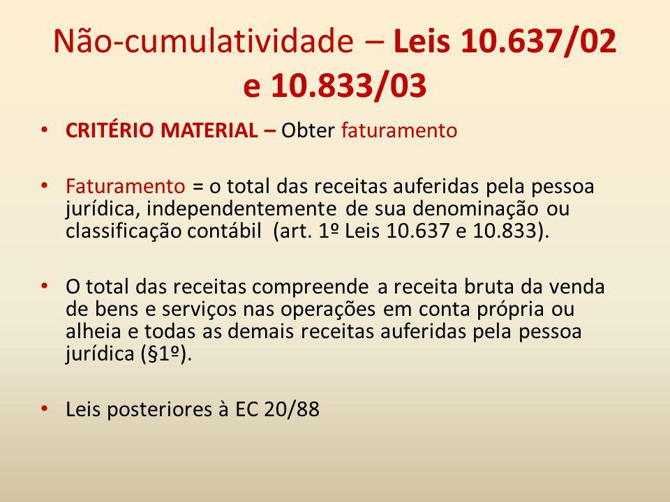 Não-cumulatividade – Leis 10.637/02 e 10.833/03 CRITÉRIO MATERIAL – Obter faturamento Faturamento = o total das receitas auferidas pela pessoa jurídic