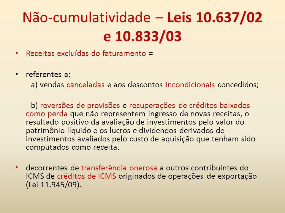Não-cumulatividade – Leis 10.637/02 e 10.833/03 Receitas excluídas do faturamento = referentes a: a) vendas canceladas e aos descontos incondicionais