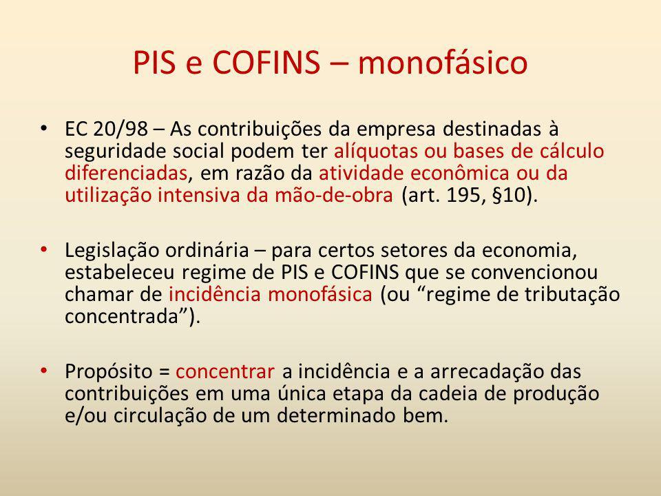 PIS e COFINS – monofásico EC 20/98 – As contribuições da empresa destinadas à seguridade social podem ter alíquotas ou bases de cálculo diferenciadas,