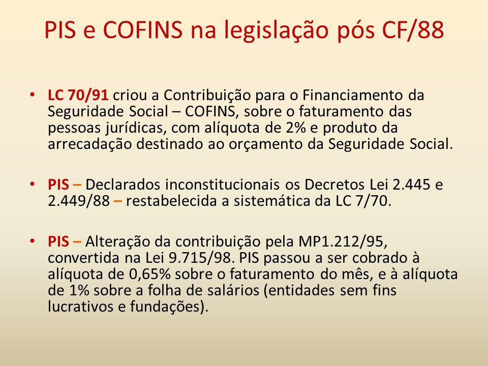 PIS e COFINS na legislação pós CF/88 LC 70/91 criou a Contribuição para o Financiamento da Seguridade Social – COFINS, sobre o faturamento das pessoas