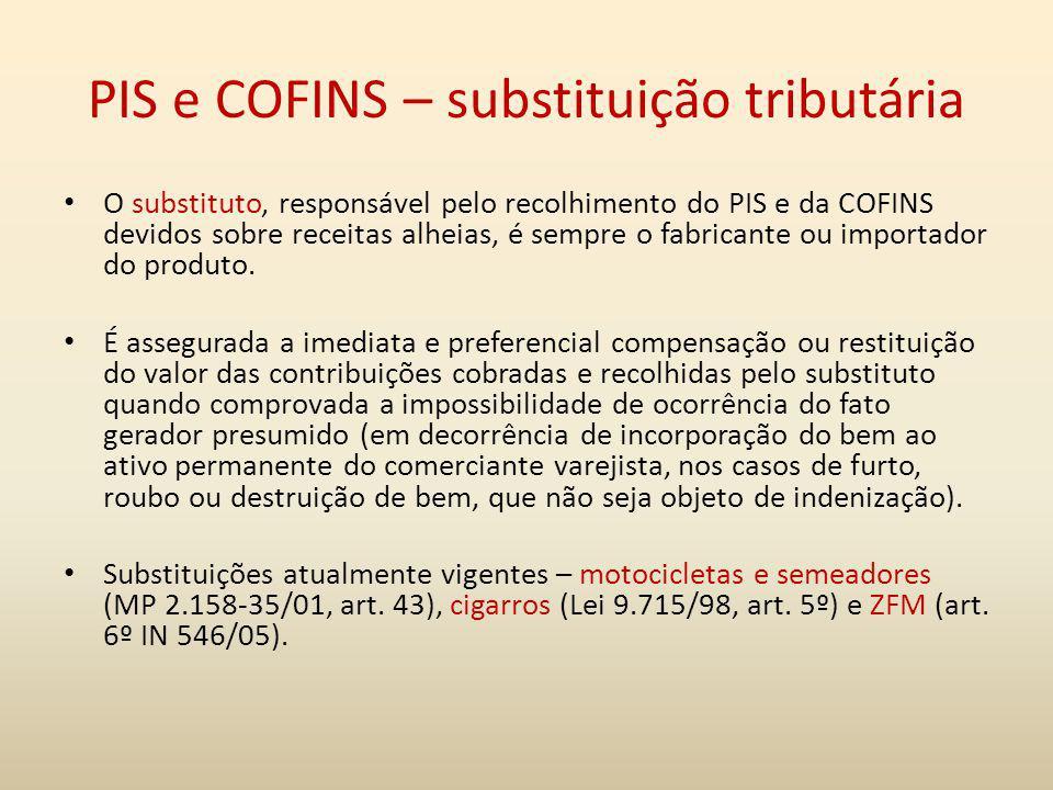 PIS e COFINS – substituição tributária O substituto, responsável pelo recolhimento do PIS e da COFINS devidos sobre receitas alheias, é sempre o fabri