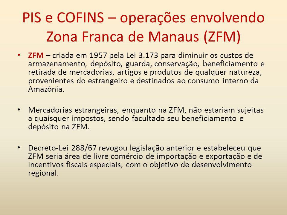 PIS e COFINS – operações envolvendo Zona Franca de Manaus (ZFM) ZFM – criada em 1957 pela Lei 3.173 para diminuir os custos de armazenamento, depósito