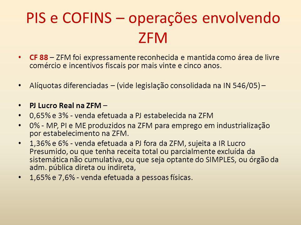 PIS e COFINS – operações envolvendo ZFM CF 88 – ZFM foi expressamente reconhecida e mantida como área de livre comércio e incentivos fiscais por mais