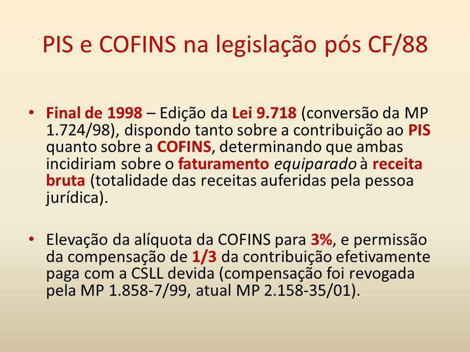 PIS e COFINS na legislação pós CF/88 Final de 1998 – Edição da Lei 9.718 (conversão da MP 1.724/98), dispondo tanto sobre a contribuição ao PIS quanto