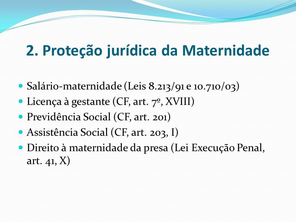 2. Proteção jurídica da Maternidade Salário-maternidade (Leis 8.213/91 e 10.710/03) Licença à gestante (CF, art. 7º, XVIII) Previdência Social (CF, ar