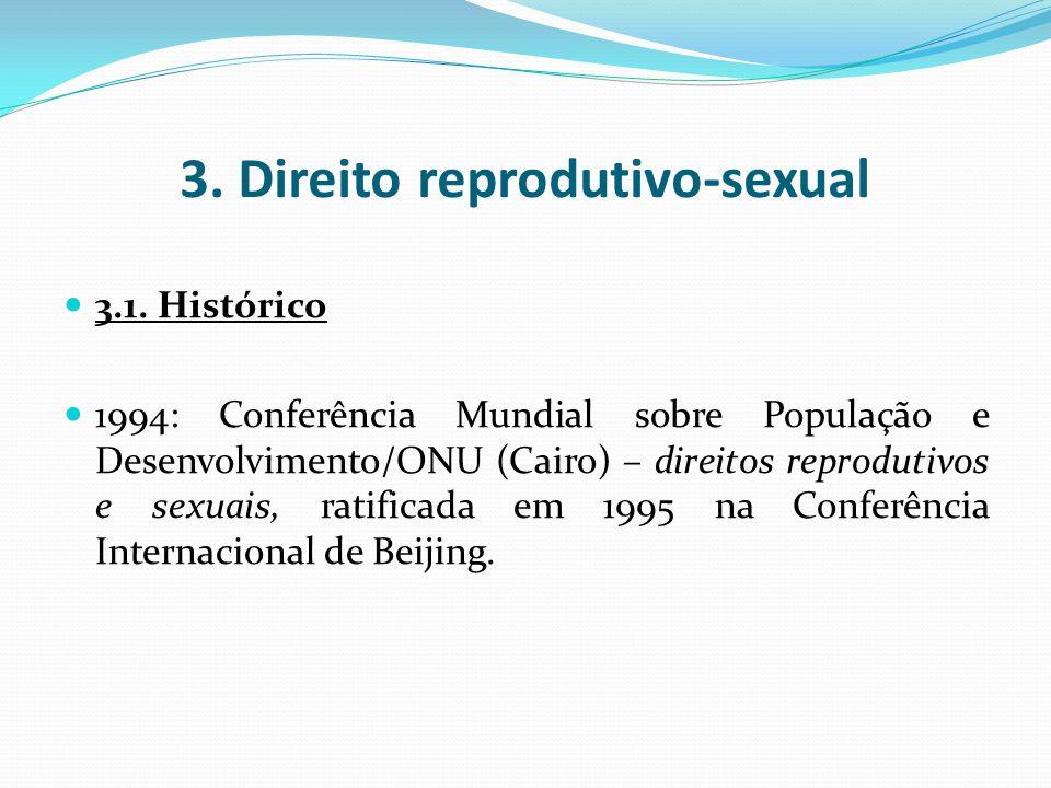 3. Direito reprodutivo-sexual 3.1. Histórico 1994: Conferência Mundial sobre População e Desenvolvimento/ONU (Cairo) – direitos reprodutivos e sexuais