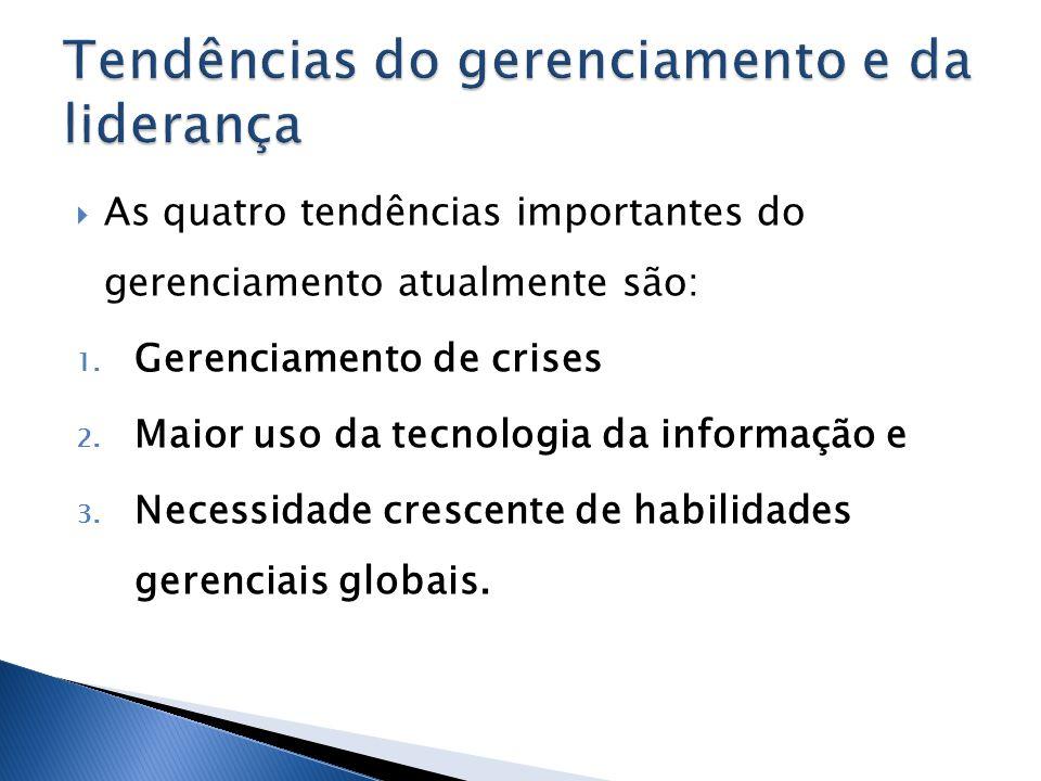 As quatro tendências importantes do gerenciamento atualmente são: 1. Gerenciamento de crises 2. Maior uso da tecnologia da informação e 3. Necessidade