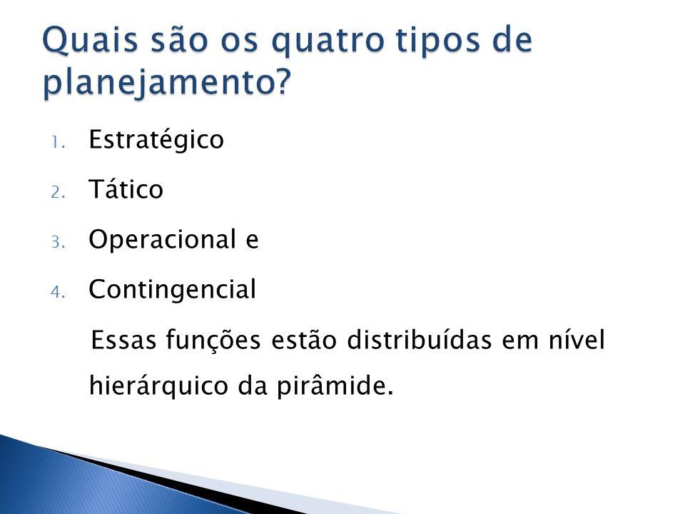 1. Estratégico 2. Tático 3. Operacional e 4. Contingencial Essas funções estão distribuídas em nível hierárquico da pirâmide.