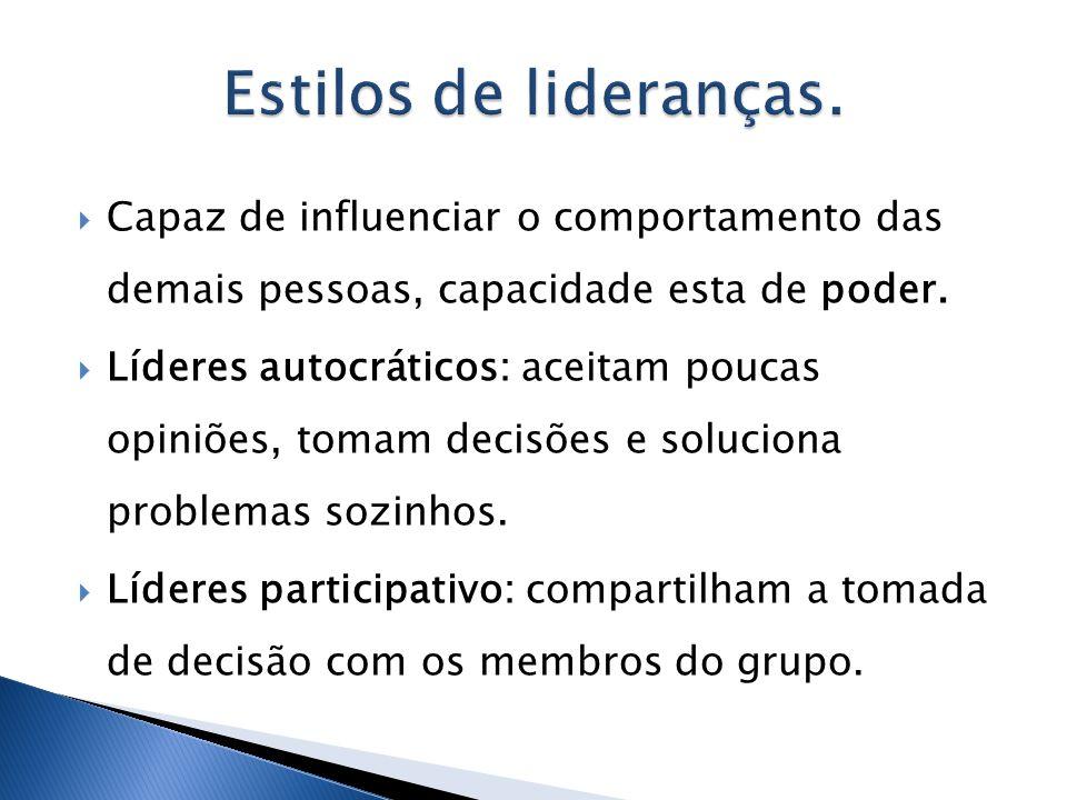 Capaz de influenciar o comportamento das demais pessoas, capacidade esta de poder. Líderes autocráticos: aceitam poucas opiniões, tomam decisões e sol