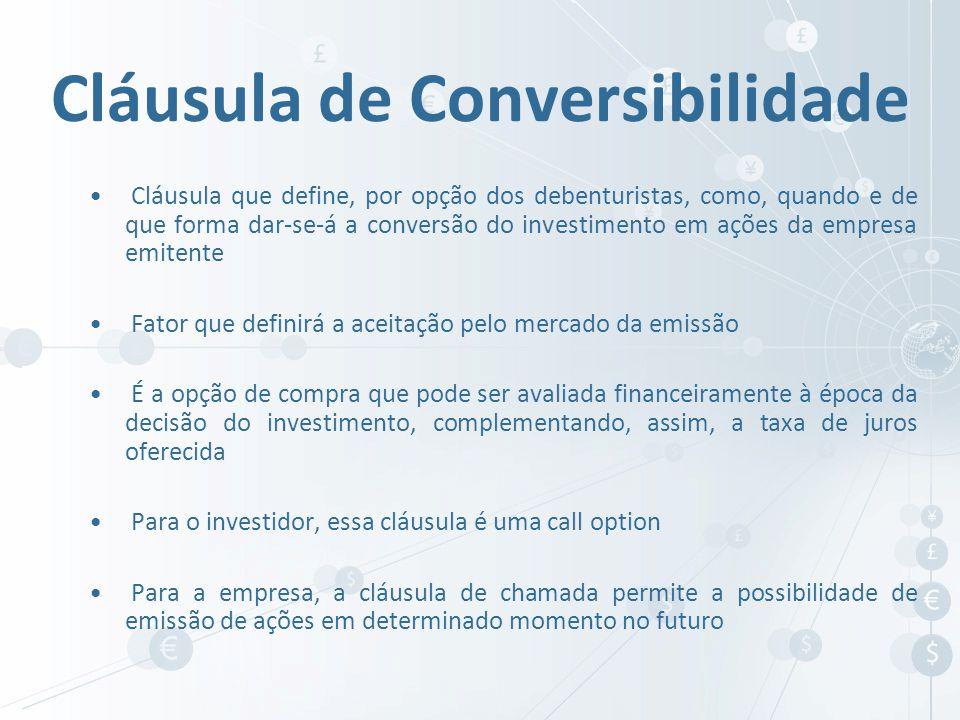 Cláusula que define, por opção dos debenturistas, como, quando e de que forma dar-se-á a conversão do investimento em ações da empresa emitente Fator