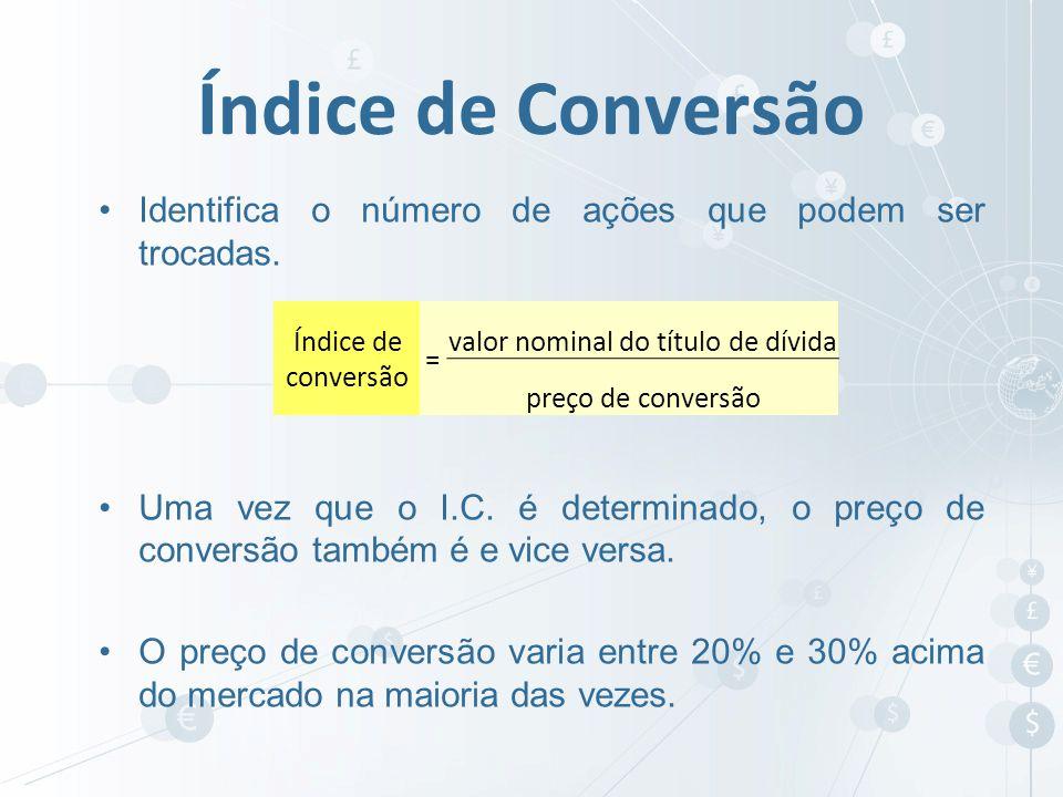 Identifica o número de ações que podem ser trocadas. Uma vez que o I.C. é determinado, o preço de conversão também é e vice versa. O preço de conversã