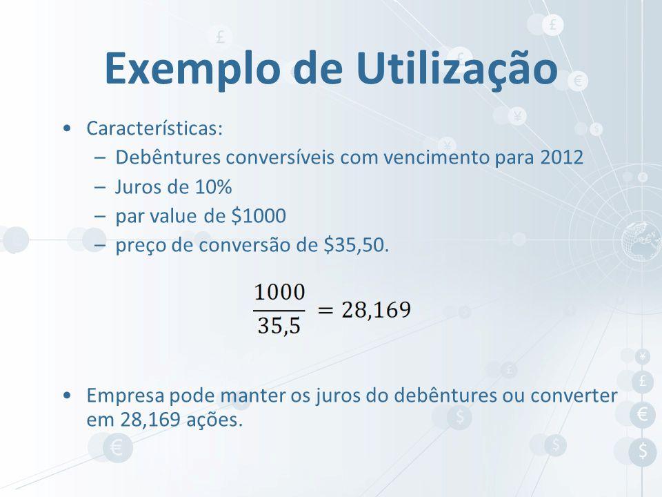Características: –Debêntures conversíveis com vencimento para 2012 –Juros de 10% –par value de $1000 –preço de conversão de $35,50. Empresa pode mante