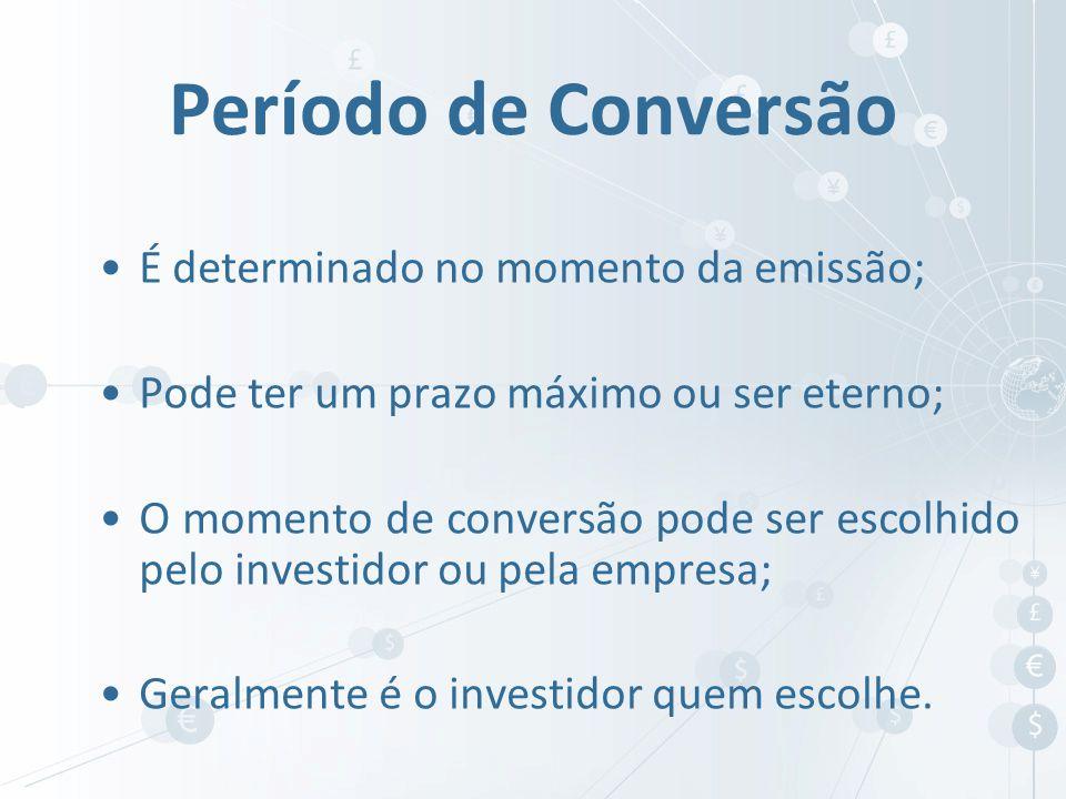 É determinado no momento da emissão; Pode ter um prazo máximo ou ser eterno; O momento de conversão pode ser escolhido pelo investidor ou pela empresa