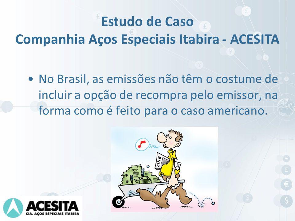 No Brasil, as emissões não têm o costume de incluir a opção de recompra pelo emissor, na forma como é feito para o caso americano. Estudo de Caso Comp