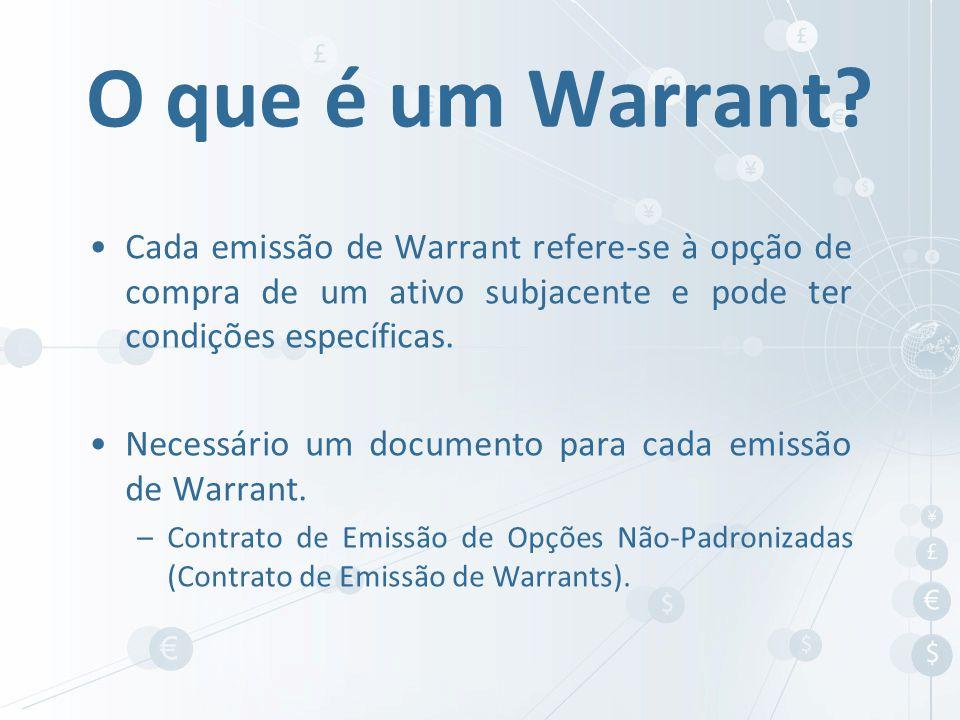 Cada emissão de Warrant refere-se à opção de compra de um ativo subjacente e pode ter condições específicas. Necessário um documento para cada emissão