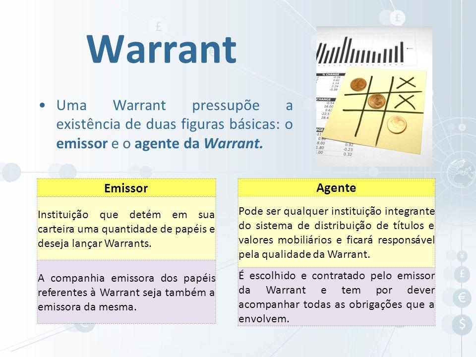 Uma Warrant pressupõe a existência de duas figuras básicas: o emissor e o agente da Warrant. Warrant Emissor Instituição que detém em sua carteira uma