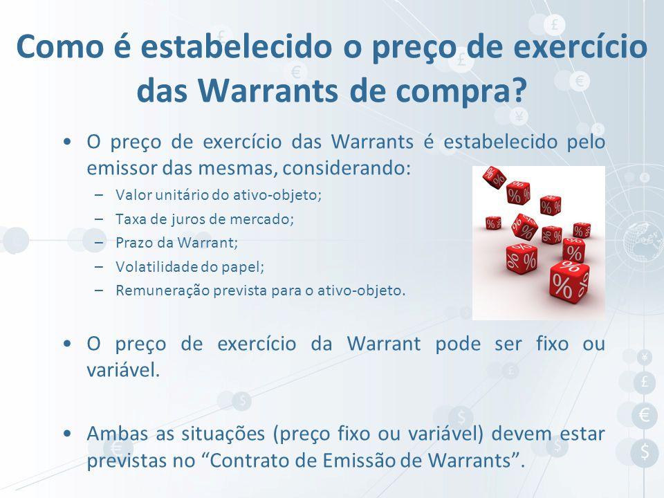 O preço de exercício das Warrants é estabelecido pelo emissor das mesmas, considerando: –Valor unitário do ativo-objeto; –Taxa de juros de mercado; –P