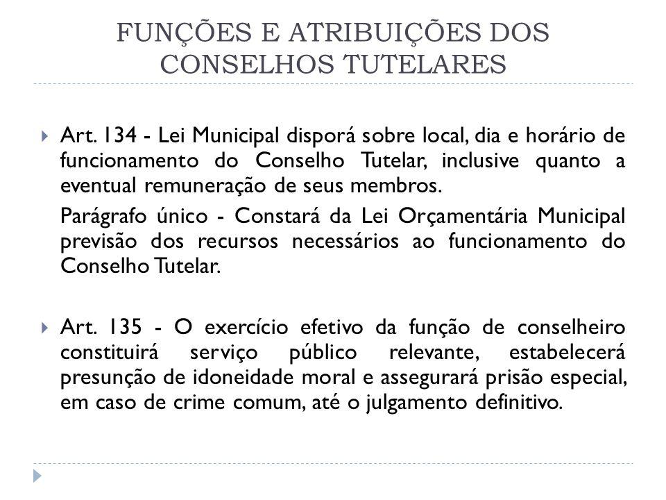FUNÇÕES E ATRIBUIÇÕES DOS CONSELHOS TUTELARES Art. 134 - Lei Municipal disporá sobre local, dia e horário de funcionamento do Conselho Tutelar, inclus