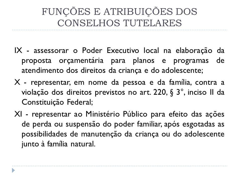 FUNÇÕES E ATRIBUIÇÕES DOS CONSELHOS TUTELARES IX - assessorar o Poder Executivo local na elaboração da proposta orçamentária para planos e programas d