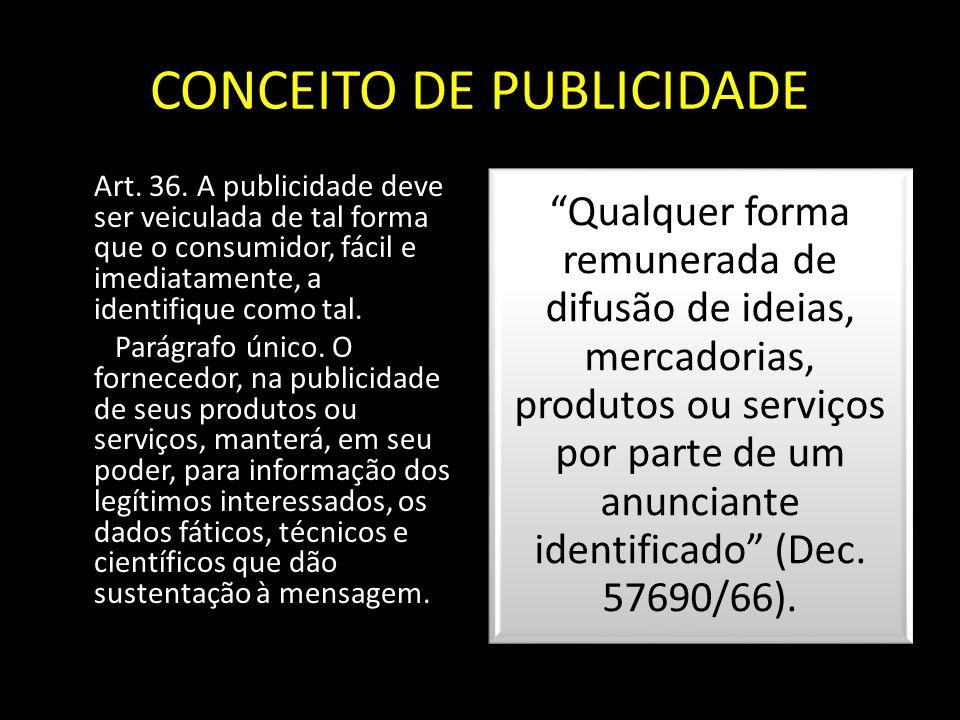 CONCEITO DE PUBLICIDADE Art. 36. A publicidade deve ser veiculada de tal forma que o consumidor, fácil e imediatamente, a identifique como tal. Parágr