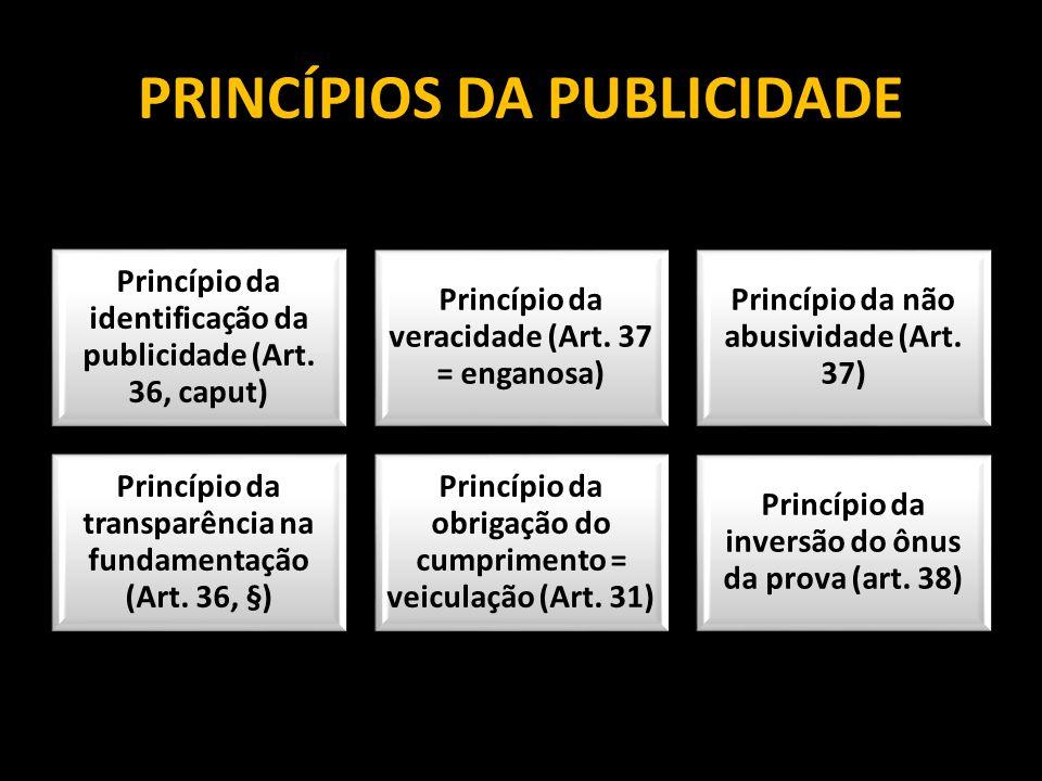 PRINCÍPIOS DA PUBLICIDADE Princípio da identificação da publicidade (Art. 36, caput) Princípio da veracidade (Art. 37 = enganosa) Princípio da não abu