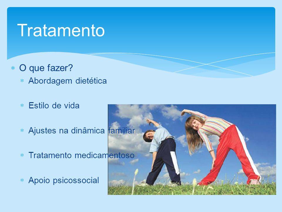 O que fazer? Abordagem dietética Estilo de vida Ajustes na dinâmica familiar Tratamento medicamentoso Apoio psicossocial Tratamento