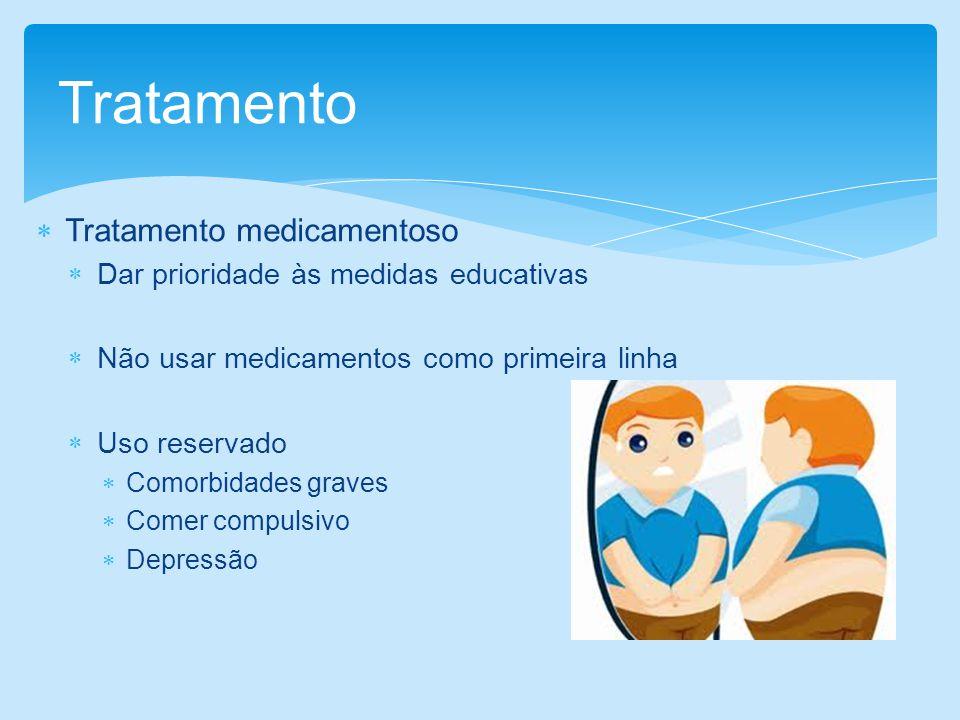 Tratamento medicamentoso Dar prioridade às medidas educativas Não usar medicamentos como primeira linha Uso reservado Comorbidades graves Comer compul
