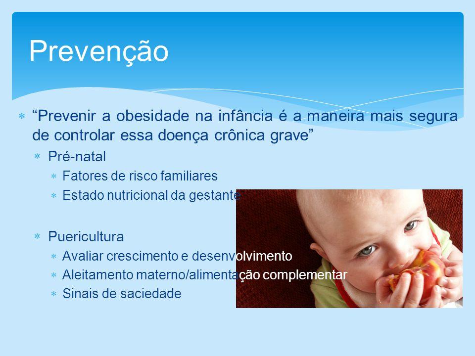 Prevenir a obesidade na infância é a maneira mais segura de controlar essa doença crônica grave Pré-natal Fatores de risco familiares Estado nutricion