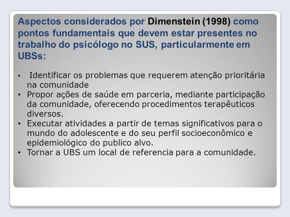 Aspectos considerados por Dimenstein (1998) como pontos fundamentais que devem estar presentes no trabalho do psicólogo no SUS, particularmente em UBS