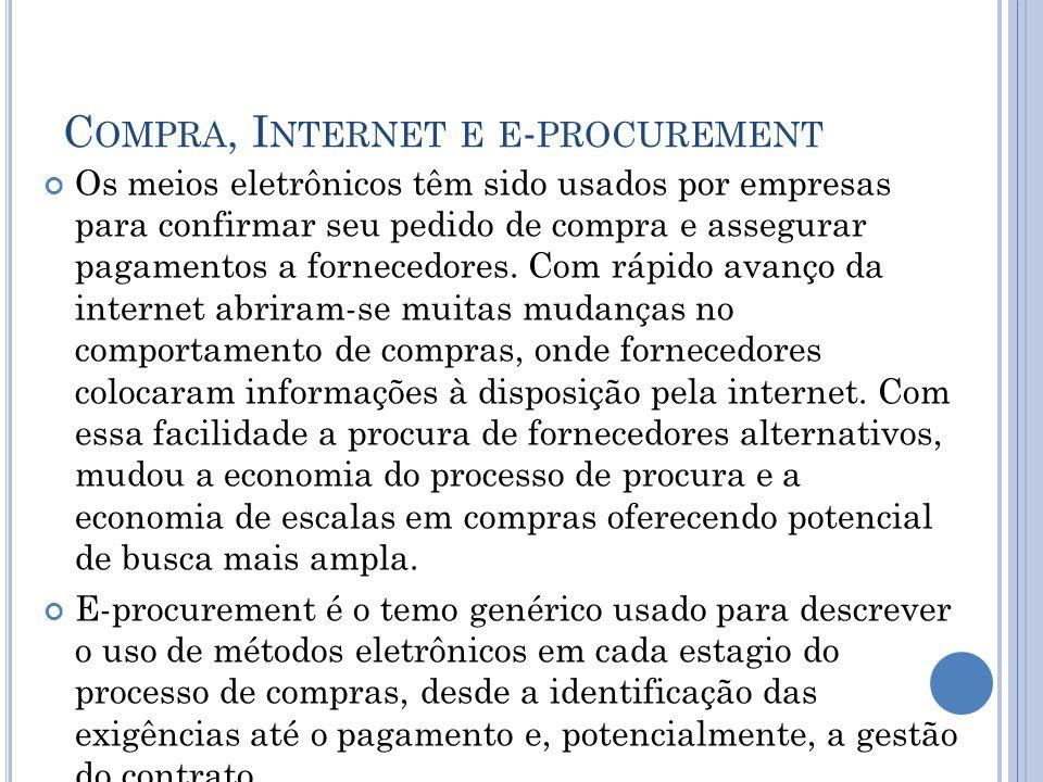 C OMPRA, I NTERNET E E - PROCUREMENT Os meios eletrônicos têm sido usados por empresas para confirmar seu pedido de compra e assegurar pagamentos a fo