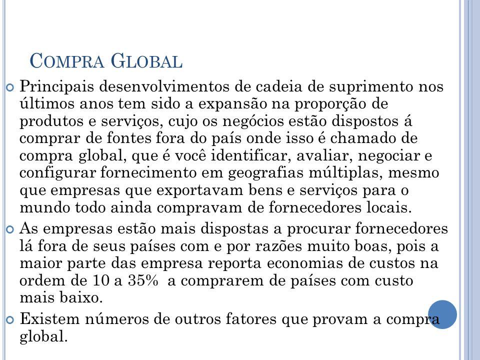 C OMPRA G LOBAL Principais desenvolvimentos de cadeia de suprimento nos últimos anos tem sido a expansão na proporção de produtos e serviços, cujo os