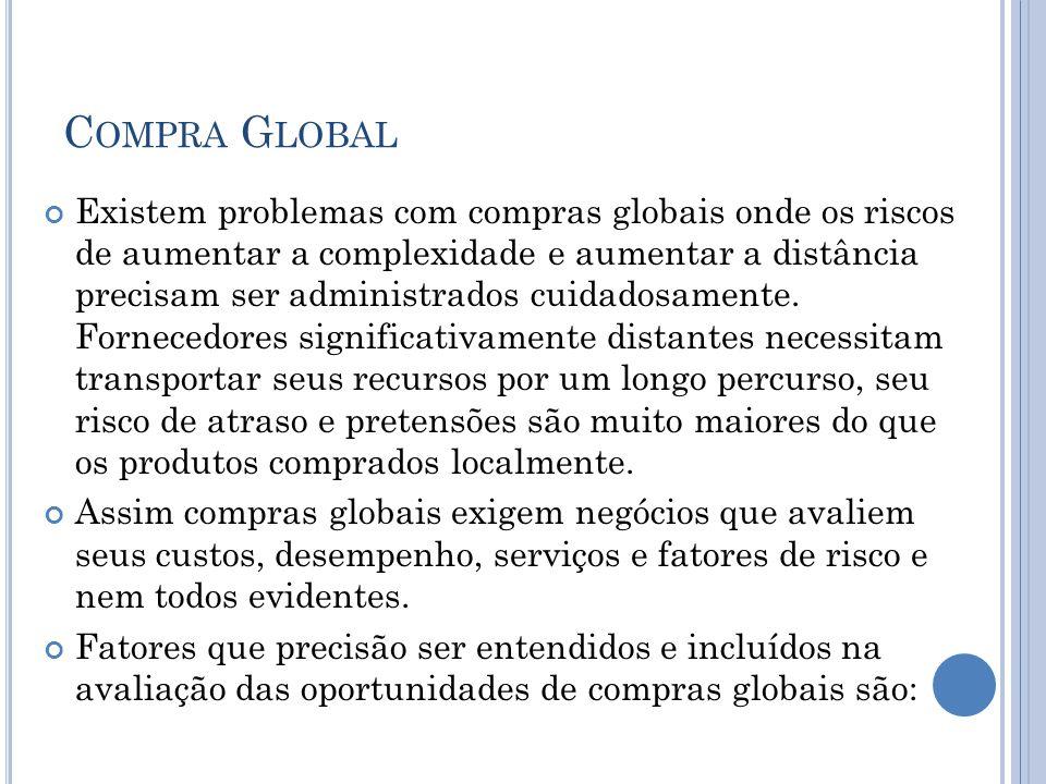 C OMPRA G LOBAL Existem problemas com compras globais onde os riscos de aumentar a complexidade e aumentar a distância precisam ser administrados cuid