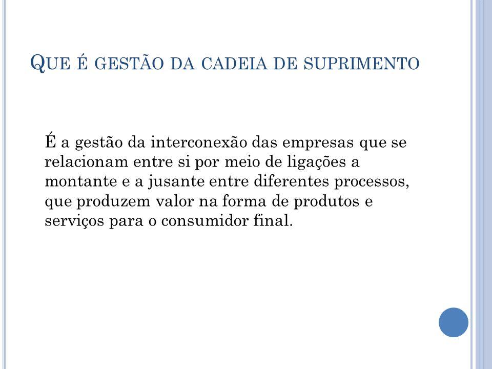 O BJETIVOS DA GESTÃO DA CADEIA DE SUPRIMENTOS Toda a gestão da cadeia de suprimentos compartilha um mesmo objetivo central – satisfazer o consumidor final.