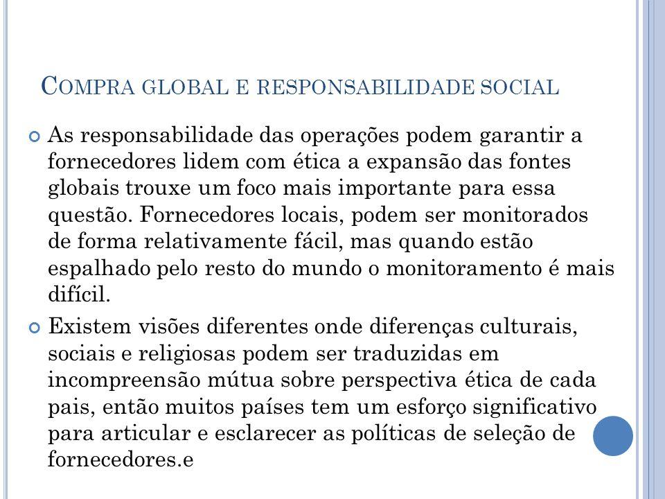 C OMPRA GLOBAL E RESPONSABILIDADE SOCIAL As responsabilidade das operações podem garantir a fornecedores lidem com ética a expansão das fontes globais