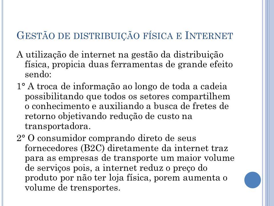 G ESTÃO DE DISTRIBUIÇÃO FÍSICA E I NTERNET A utilização de internet na gestão da distribuição física, propicia duas ferramentas de grande efeito sendo