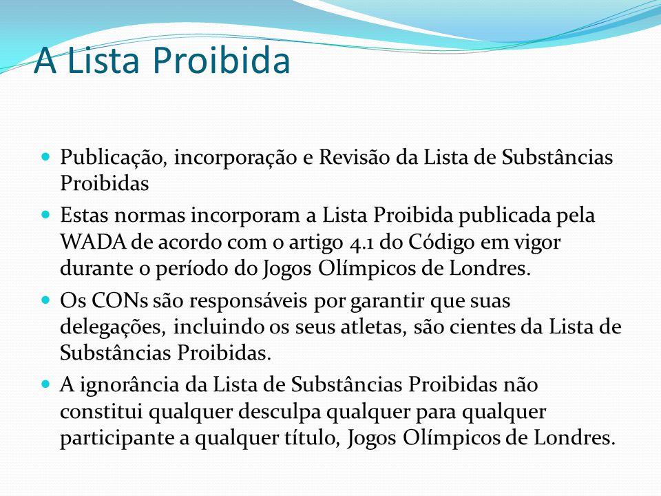 A Lista Proibida Publicação, incorporação e Revisão da Lista de Substâncias Proibidas Estas normas incorporam a Lista Proibida publicada pela WADA de acordo com o artigo 4.1 do Código em vigor durante o período do Jogos Olímpicos de Londres.