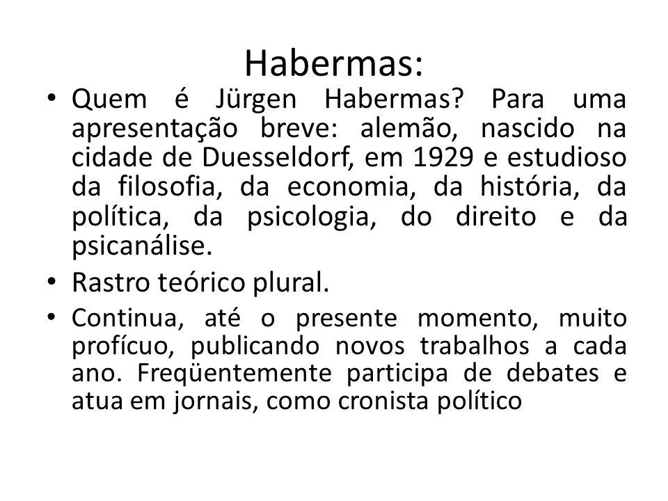 Influências no pensamento de Habermas: Habermas apóia-se em grandes cientistas e filósofos da humanidade, dentre tantos: Kant, Hegel, Marx, Weber, Freud, Adorno, Horkheimer, Wittgenstein, Austin, Searle.