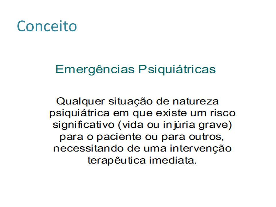 Atendimento de Emergência Psiquiátrica Diagnóstico diferencial : EMERGÊNCIA: situação de risco grave – intervenções imediatas e inadiáveis (minutos ou horas).