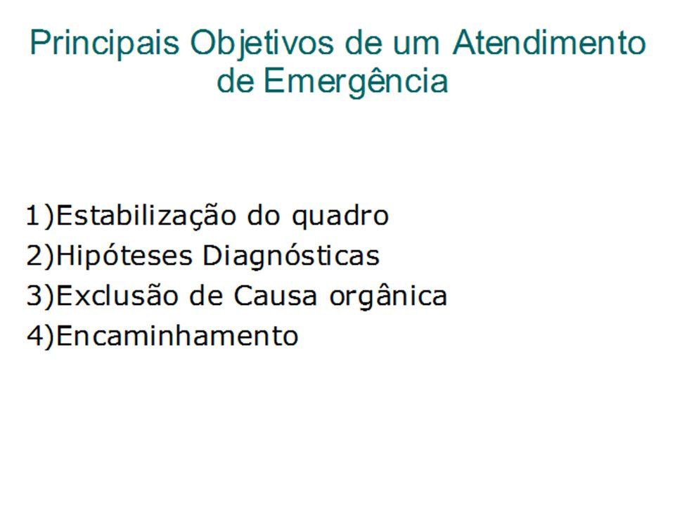 Principais Objetivos de um Atendimento de Emergência 1)Estabilização do quadro 2)Hipóteses Diagnósticas 3)Exclusão de Causa orgânica 4)Encaminhamento